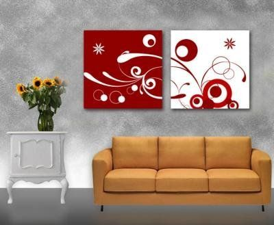 Red and White Modern Wall Decor Decorative Abstract Oil Painting on Canvas 2pc by youniverseonline, http://www.amazon.com/dp/B00DHRWEUM/ref=cm_sw_r_pi_dp_VyFAsb0E51838