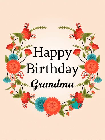 Cute Red Flower Birthday Card for Grandma: Sweet and fresh flowers for your special grandma on her birthday! This wreath of cute, wild flowers is a terrific way to wish a happy birthday to your grandmother. She'll really love the clementine and turquoise colors of the new blooms as well as the thoughtful gesture. It's easy to send birthday cards for every occasion-don't leave your sweet grandma out of the fun! Make her smile and send a beautiful birthday greeting.