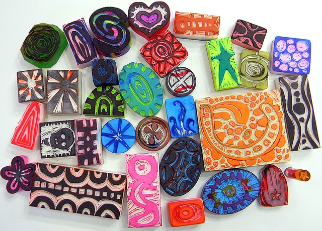 30 days of carving stamps from erasers as an artist exercise by Traci Bunkers, via Flickr