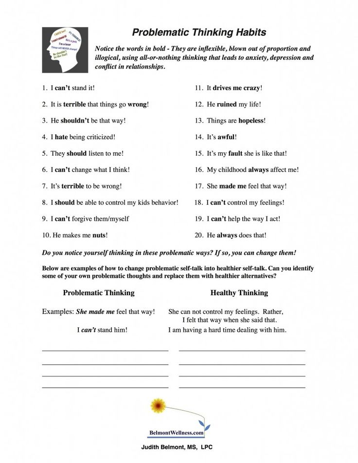 New handout to help recognize problematic thought habits. Think straight to feel great! Visit www.belmontwellness.com for more psycho-educational resources including reproducible handouts, quizzes and worksheets and books.