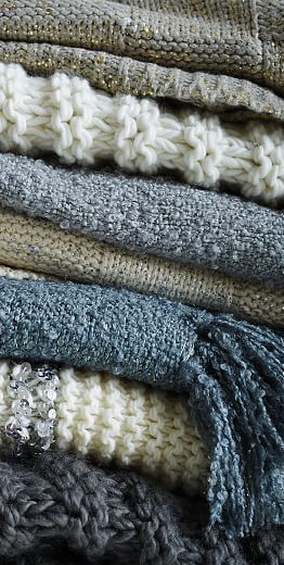 Lovely stack of cozy throws http://rstyle.me/n/tqmxvnyg6