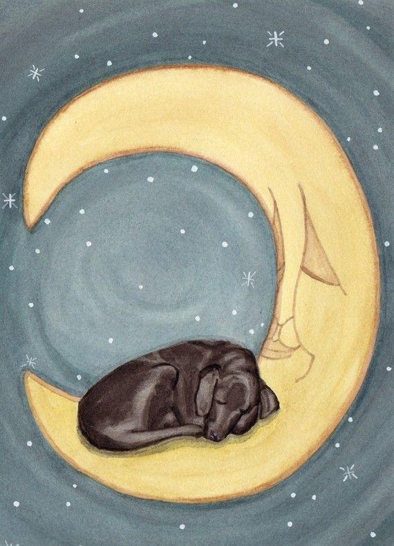Sweet Dreams Black Lab    Black labrador retriever black lab sleeping on by watercolorqueen, $12.99