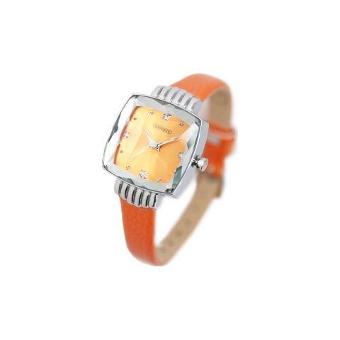 スクエアフェイスベルト時計/オレンジ(ABISTE [アビステ] の時計) iQON