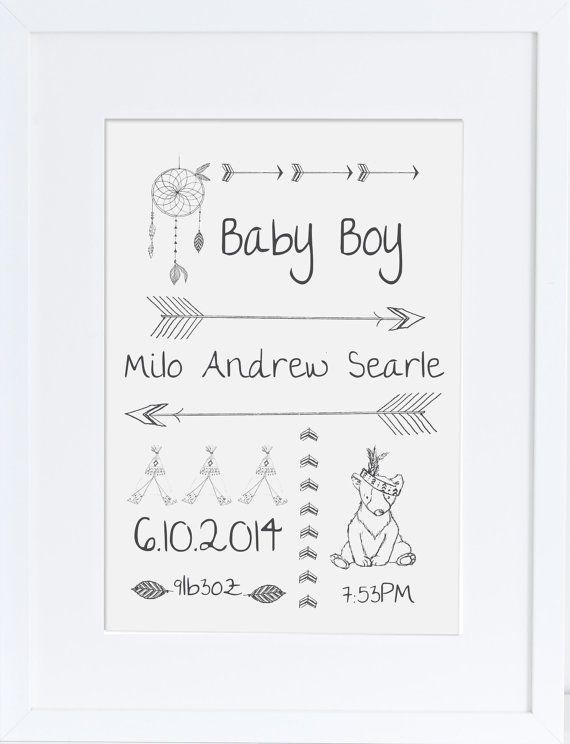 Personalised nursery art black and white nursery от mylovebubble