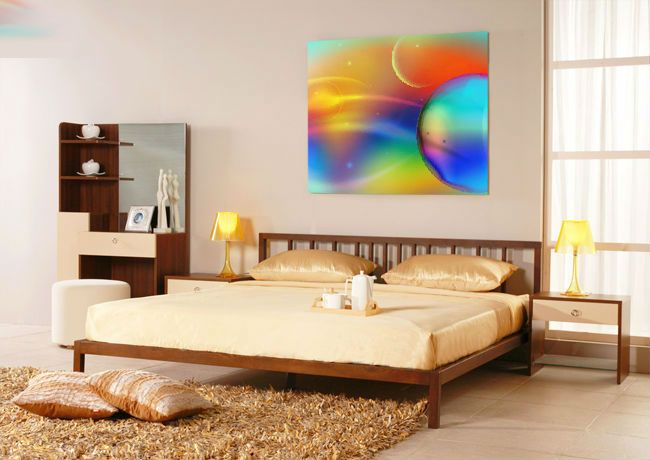 The bright mural on the wall of a bedroom gives the interior a pleasant and cheerful look.