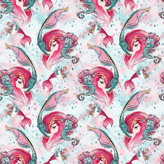 mermaid fabric knit fabric jersey ocean fabric fabric by the yard shell fabric under the sea nursery cotton fabric mermaid nursery