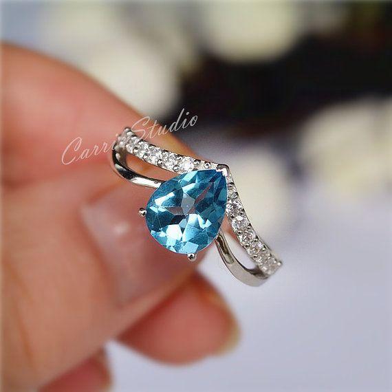 Poire topaze bleue naturelle bague bague de fiançailles bague de mariage en argent Sterling anniversaire anneau Promise Ring nouvelle Version CarrieStudio personnaliser