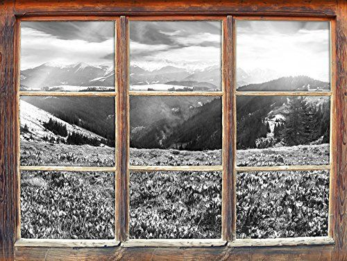 paysage de montagne enneigée avec arc en ciel et fleurs crocus art B & W Fenêtre dans le regard 3D, de murs ou de portes autocollants,…