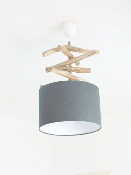 Lustre bois flotté gris abat jour cylindre 28 cm