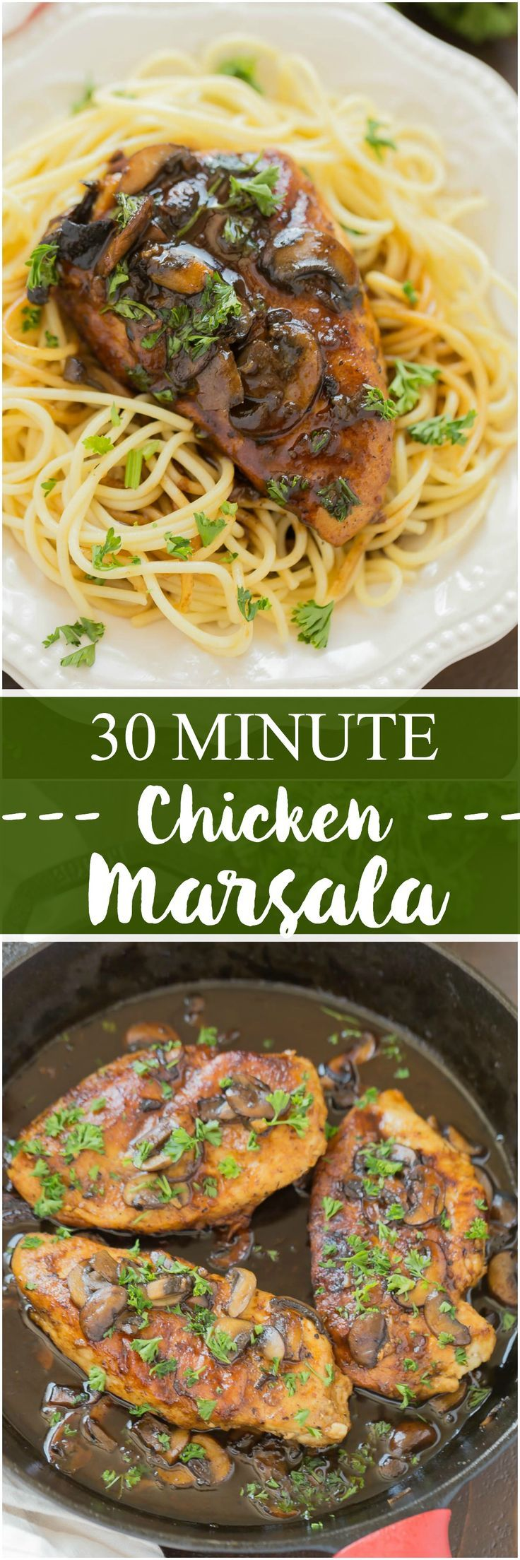 30 Minute Chicken Marsala is loaded with tons of flavor and ready within 30 minutes. This Chicken Marsala is perfect served with noodles or mashed potatoes. It's a win win for a quick meal! #dinner #30minutesmeals #quickandeasy #chicken #chickenmarsala #recipes