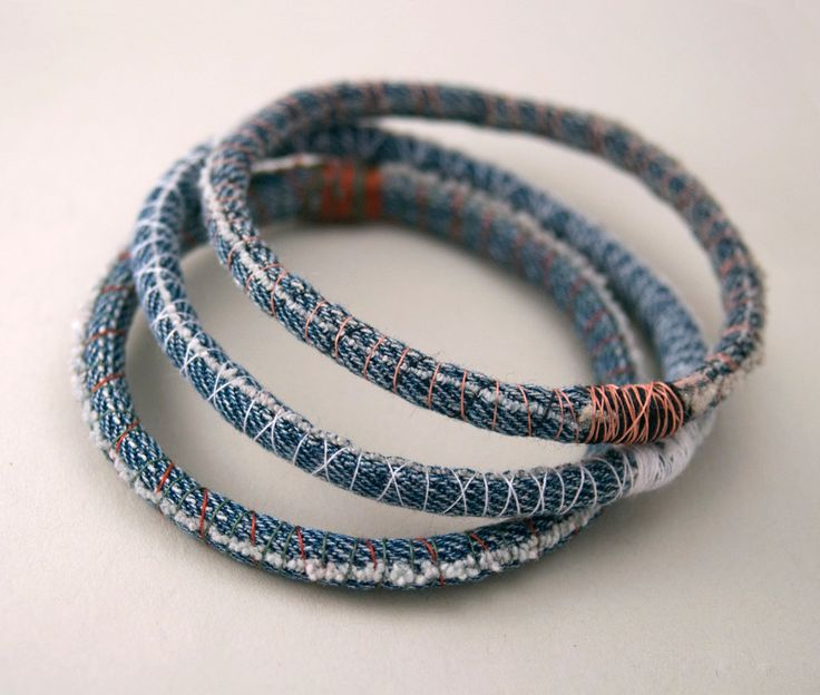 3 three upcycled denim bracelets - repurposed jean bangles - made to order in your size and thread colors. 10.00, via Etsy.