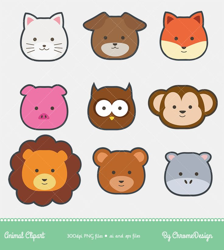 Animal Clipart, Cute Animal Clipart - Baby Cat, Dog, Pig, Owl, Monkey, Lion, Bear, Hippo Clipart - Instant Download!