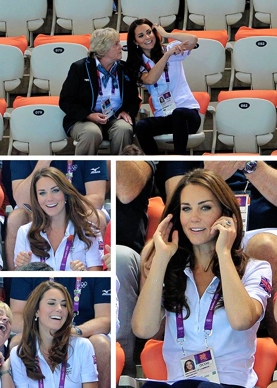 4 Years Ago Today: Catherine, Duchess of Cambridge, watches Synchronised Swimming on Day 13 of the London 2012 Olympic Games at the Aquatics Centre on August 9, 2012.