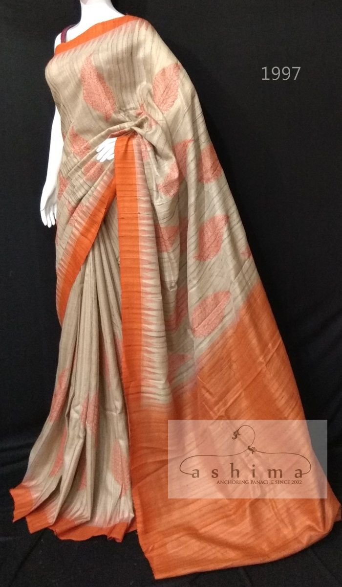 Silk saree blouse designs without embroidery ghicha tussar saree  in   sarees ready to ship