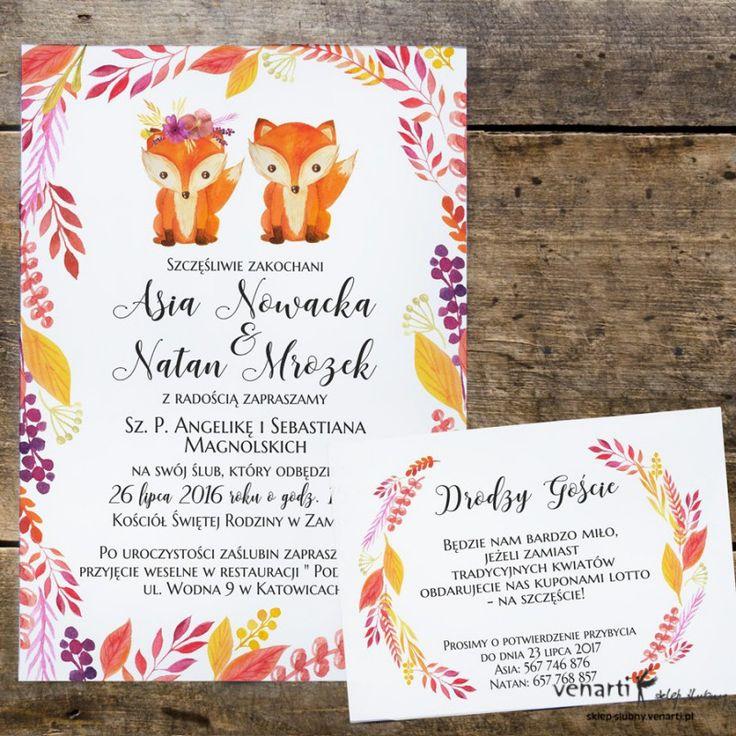 Zaproszenia ślubne Lisy (Kod: KP042) Zaproszenia papierowe Zaproszenia ślubne -Venarti - Sklep ślubny