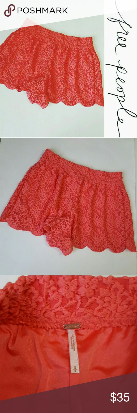 Free People | scallop lace shorts! Small In excellent condition! Gorgeous Free People lace scallop shorts, size small. Coral color! Loose fit. 2 inch inseam. Free People Shorts