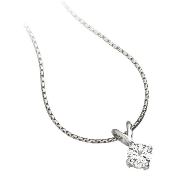 Pandantiv cu Diamant Solitaire Aur Alb 18kt cu Diamant Rotund Briliant in Setare cu 4 Gheare si Lantisor - RDP045W