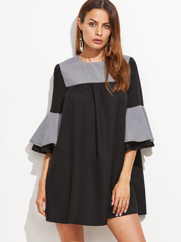 Black Contrast Checkered Neck Bell Sleeve Tent Dress : $17.99