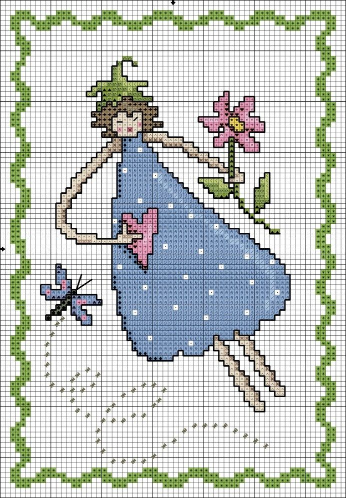 0 point de croix femme coeur fleur - cross stitch woman, girl with heart and flower