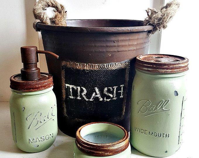 Rustic Sage 4 Piece Mason Jar Bathroom with Waste Basket, Rustic Bathroom Decor, Fixer Upper Bathroom Decor, Sage Mason Jar Set