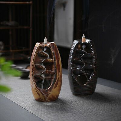 Mountain River Handicraft Incense Holder Backflow Ceramic Burner Censer Decor US