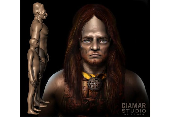 The Establishment Has Already Acknowledged A Lost Race of Giants - Part 1. 3d Digital Sculpture of Giant with hair, copper breastplate, and gorget. Image courtesy of Marcia K. Moore, Ciamar Studio.