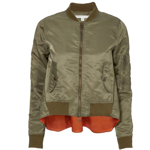 Hampton Flight Jacket (19,100 PHP) ❤ liked on Polyvore featuring outerwear, jackets, green, brown utility jacket, veronica beard, green bomber jacket, brown bomber jacket and blouson jacket