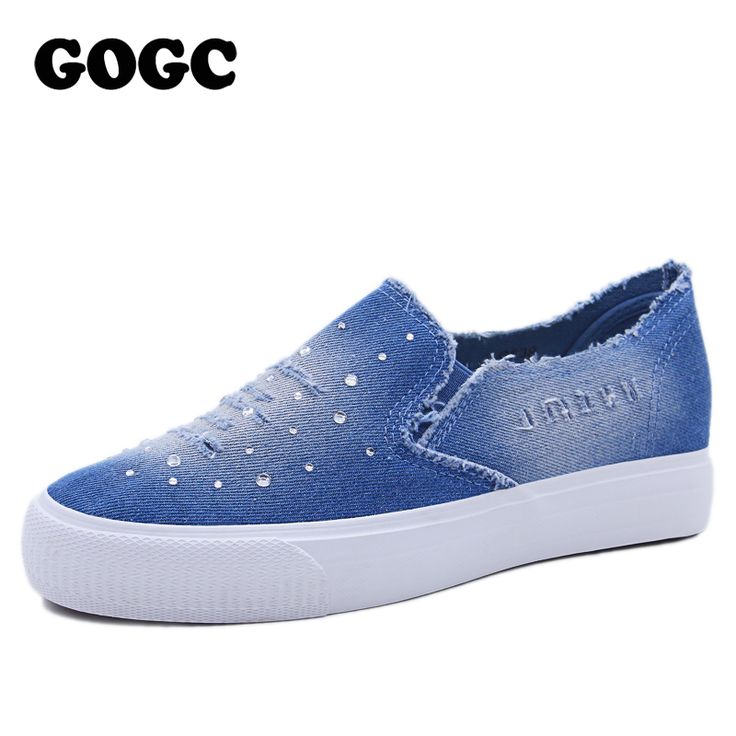Cheap shoe rivet, Buy Quality shoes with removable heel directly from China shoe wallpaper Suppliers: GOGC 2017 Designer Denim Shoes with Rhinestone Crystal Comfortable Thick Bottom Canvas Shoes Women Casual Shoes Women Slipony