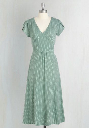 1940s vintage style tea dress - Word to the Blithe Dress in Sage $89.99 AT vintagedancer.com