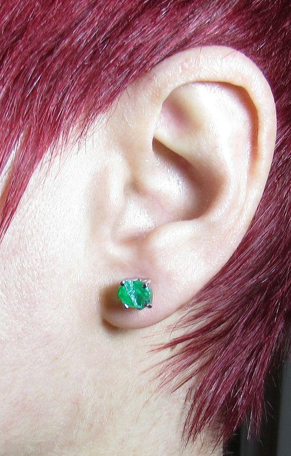 4CT Raw Emerald Earrings  Rough Emerald Earrings  by iPreciousgr