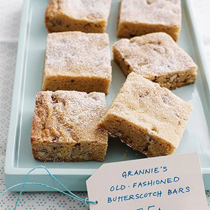 """Everyone will love this recipe, courtesy of Margaret Grubb of North Charleston, South Carolina. """"These bars are delicious, chewy and easy to make, and have a rich butterscotch flavor,"""" says Grubb. - FamilyCircle.com"""