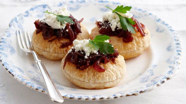Caramelised onion and feta tarts sent in by Fern Warren of Rowville, Victoria.