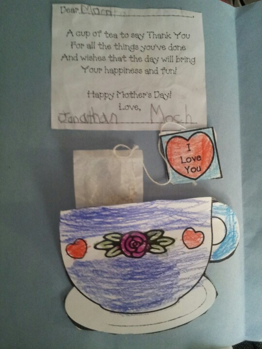 Mothers Day Card. Inside has a real tea bag!