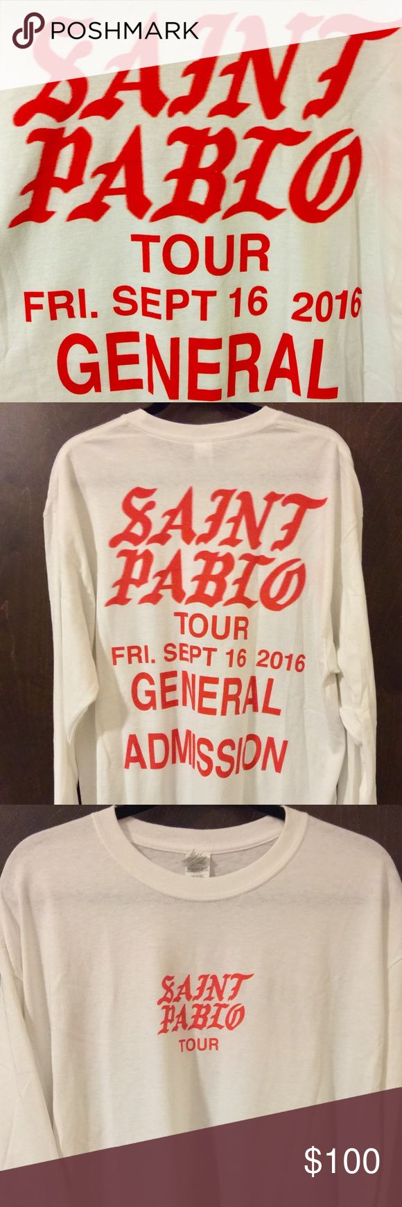 OFFICIAL KANYE WEST SAINT PABLO TSHIRT Saint Pablo official concert Tshirt with concert date! Long sleeve with image on the front and back! Shirts Tees - Long Sleeve