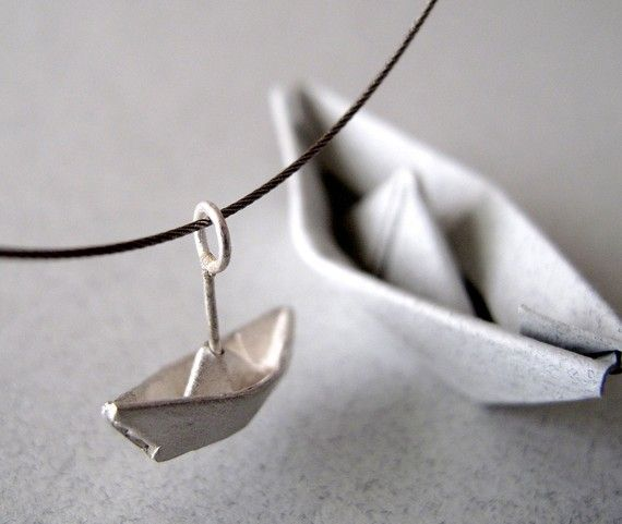 Origami Necklace Jewelry Silver Boat Pendant Origami by monteazul