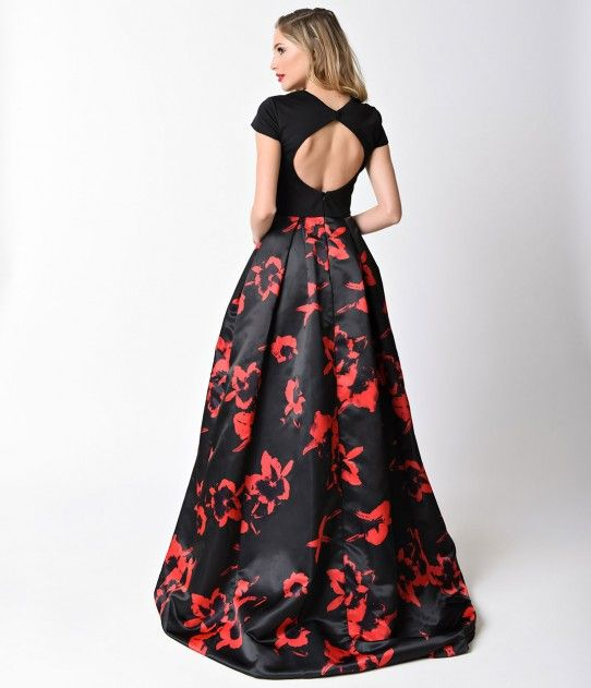 Black & Red Floral Print Cap Sleeve V Neck Gown For Prom 2017