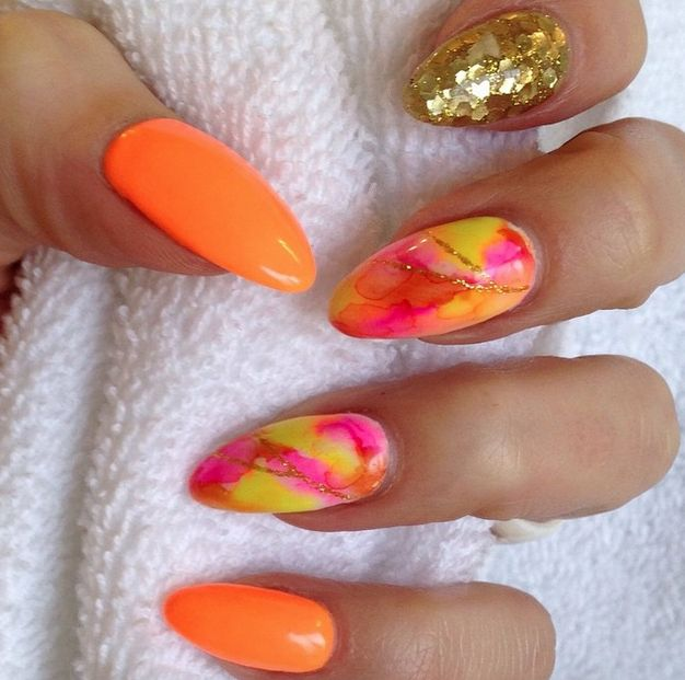 Neon Orange with Gold Glitter and Neon Tie Dye Accent Nails