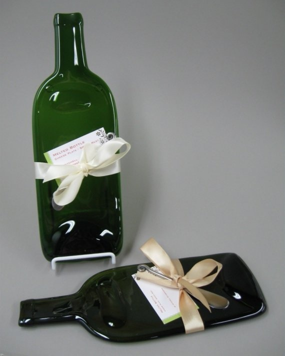 Melted wine bottle cheese tray upcycled recycled green glass hostess gift new home bottle - How do you melt glass bottles ...