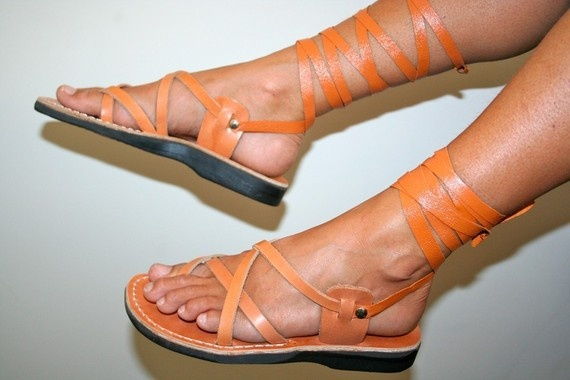 I needs to gets a new pair for summer...  Caramel Gladiator Leather Sandals by SANDALI on Etsy, $60.00