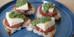 Både chorizoen og osten giver en dejlig krydret smag
