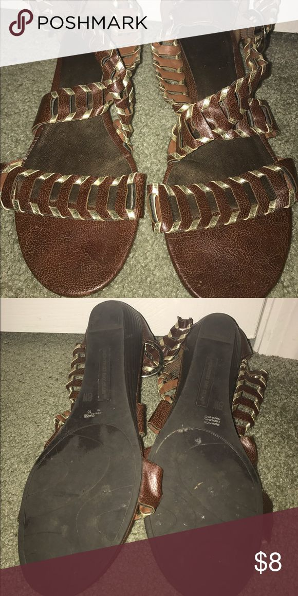Brown and gold flat gladiator sandal Gently worn. In great condition. Shoes Sandals