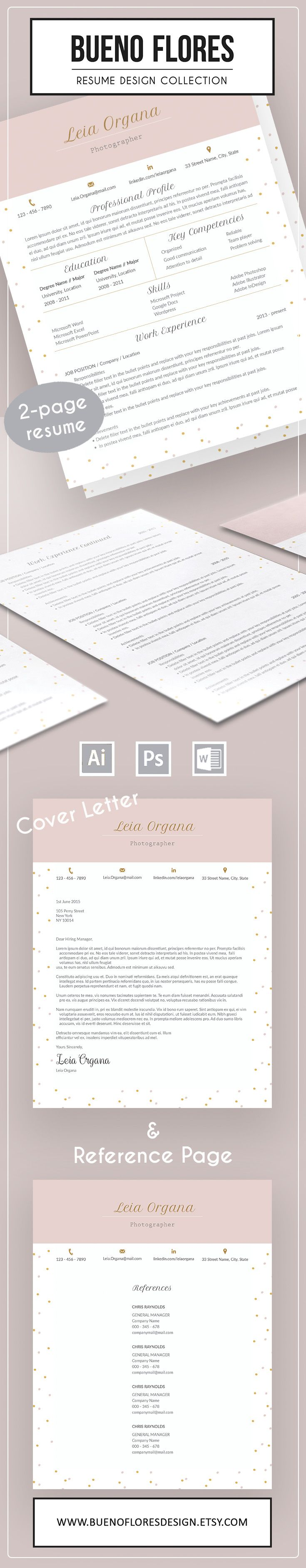 """Bueno Flores Resume Template """"Leia Organa"""", a 2 page resume design with matching cover letter and reference page. Free login organizer with every purchase. #resume template #resume design"""