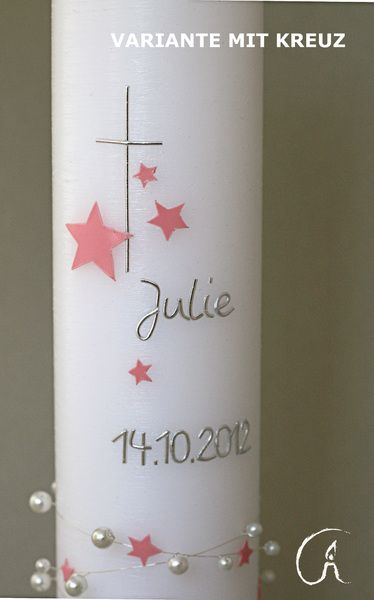 Taufkerzen - RESERVIERT FÜR TINA ! Taufkerze Sternchen rosa - ein Designerstück von Feierlicht bei DaWanda