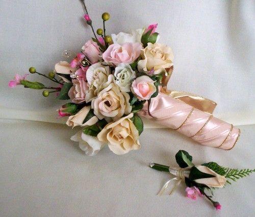 Cherry Blossom Bouquet boutonniere silk Wedding Flowers pink roses