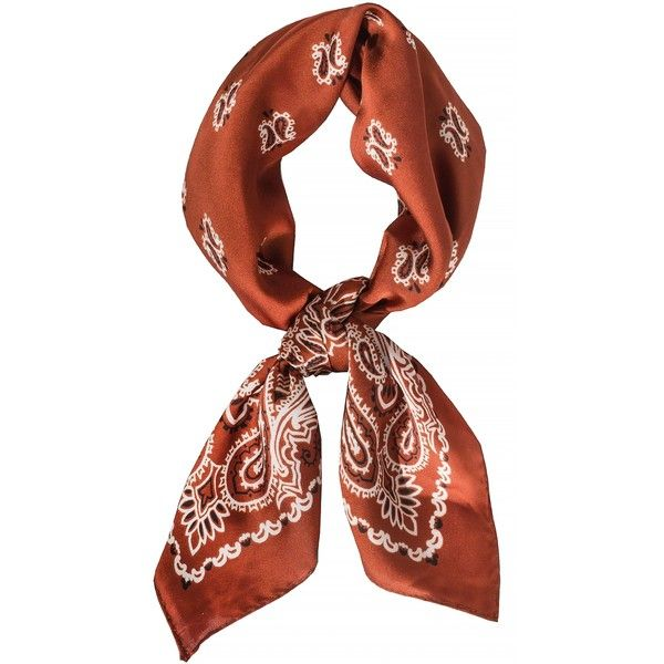 Brown Silky Bandana Neck Scarf ($20) ❤ liked on Polyvore featuring accessories, scarves, brown bandana, brown handkerchief, brown shawl, bandana scarves and brown scarves