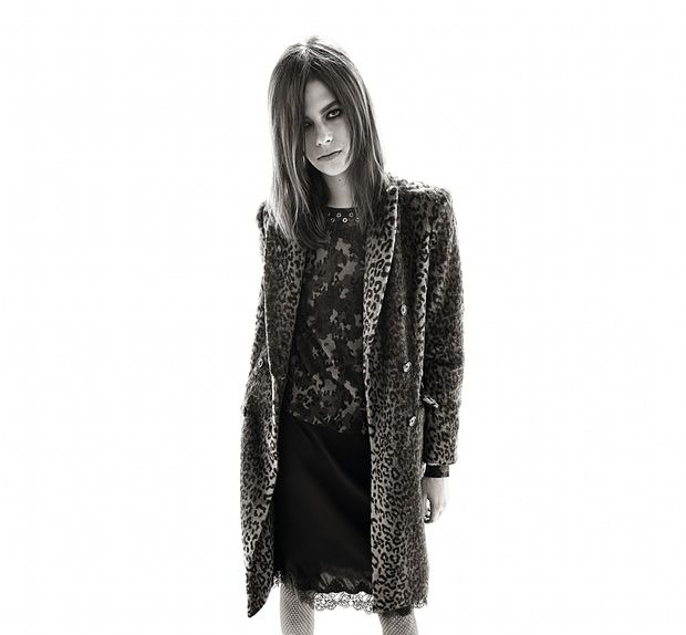 A model – not Carine but she could be – shows off Carine Roitfeld's collection for Uniqlo