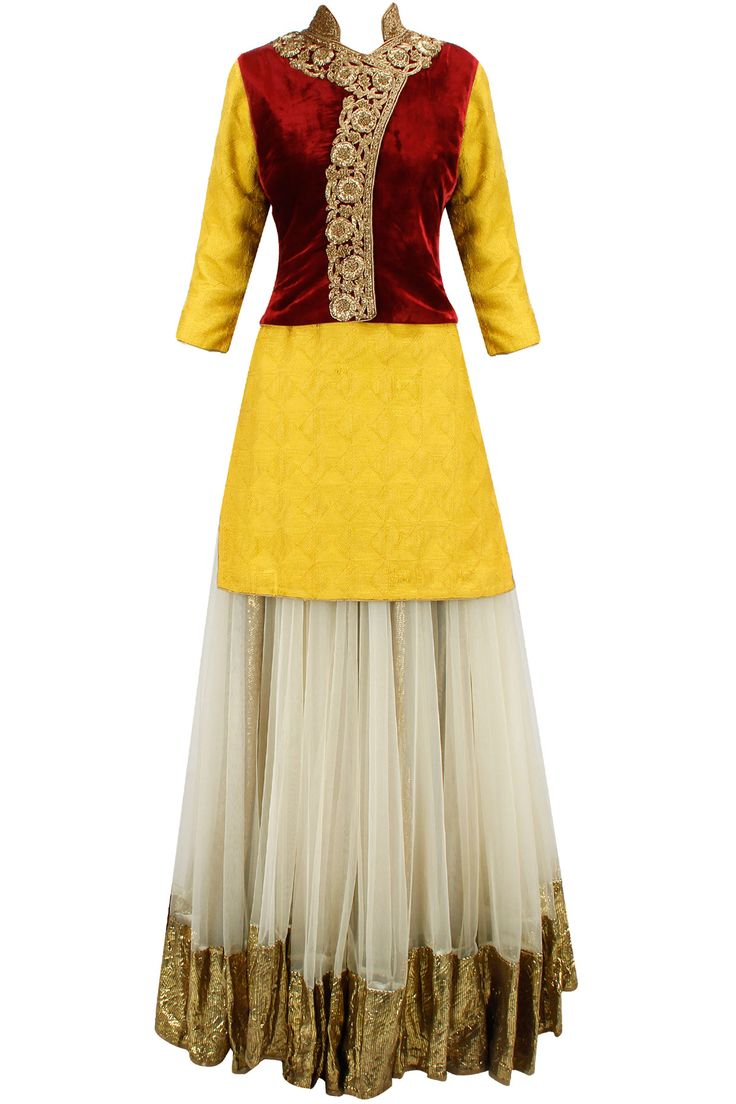 Beige and mustard gota work lehenga set with maroon overlapped bandi available only at Pernia's Pop-Up Shop.