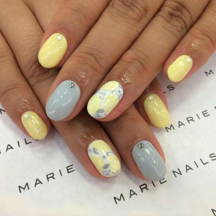 12 best vacation nails images on pinterest beleza fingernail grey and yellow nails prinsesfo Gallery