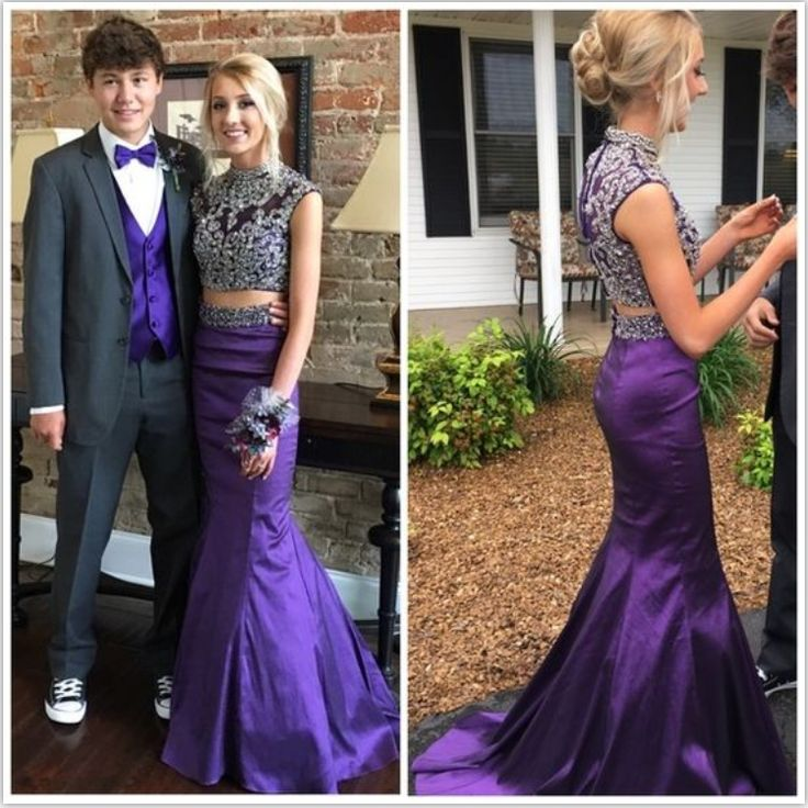 Purple Prom Dresses,Two Pieces Prom Dresses,Evening Dresses,Beaded Prom Dress,Mermaid Prom Dresses,High Neckline Prom Gowns