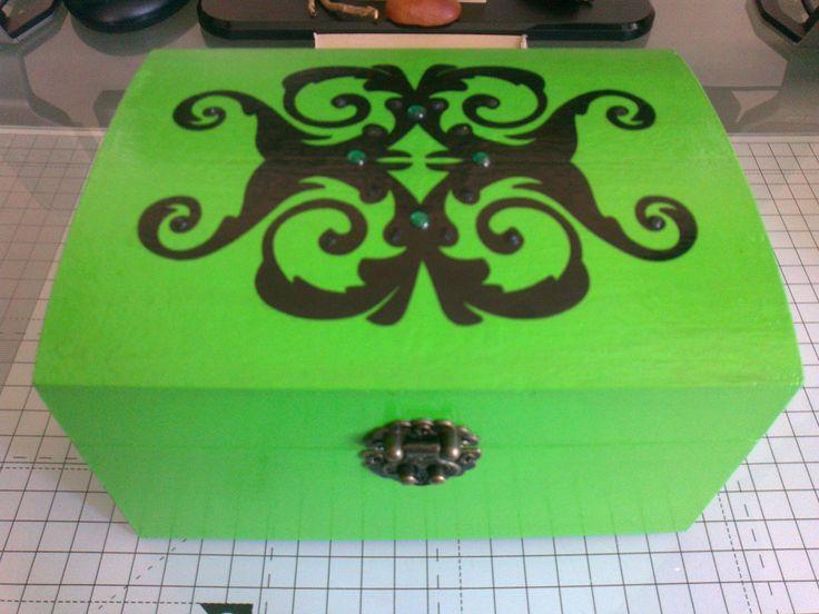 Box painted using acrylic